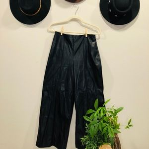 Faux leather flare cropped pants